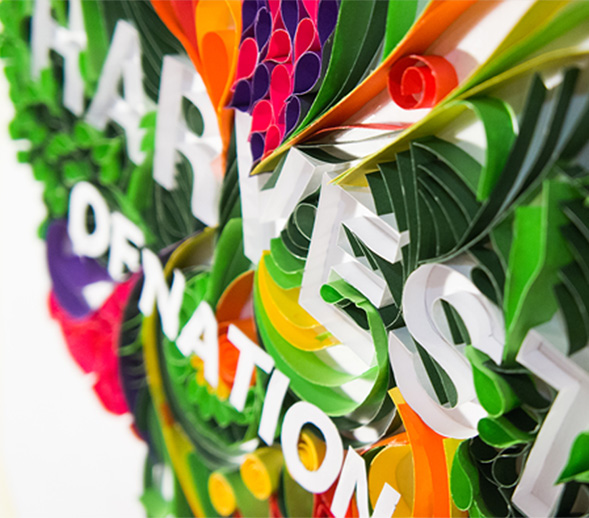 harvest paper sculpture close up
