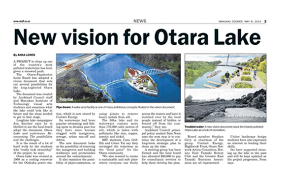 otara lake landscape architecture newspaper article