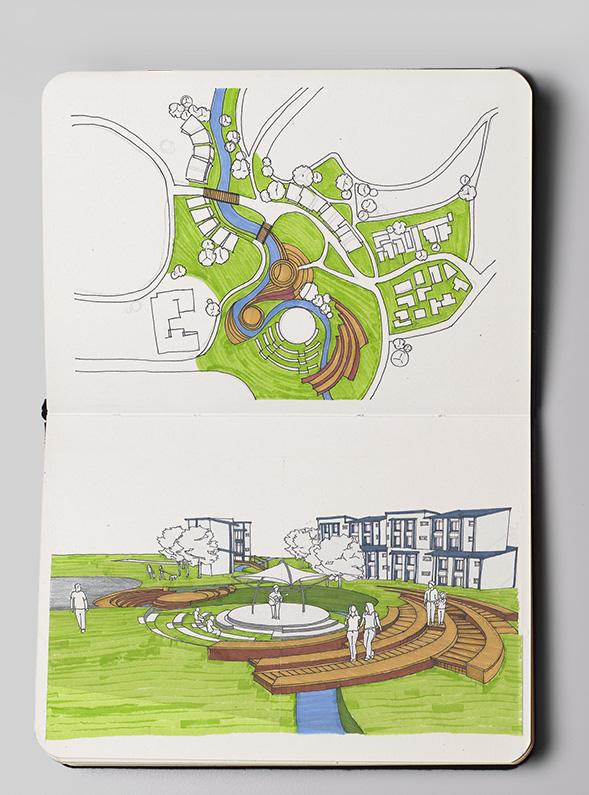 otara lake and waterways sketch concept 1